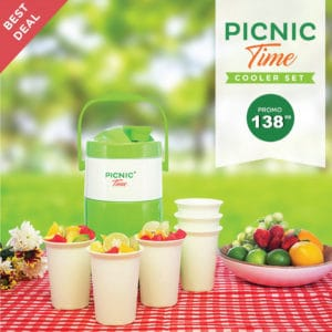 Picnic Cooler Set ( Jug 1 + Free Glass 6)