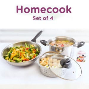 Homecook Set of 4, Stainless Steel Cookware