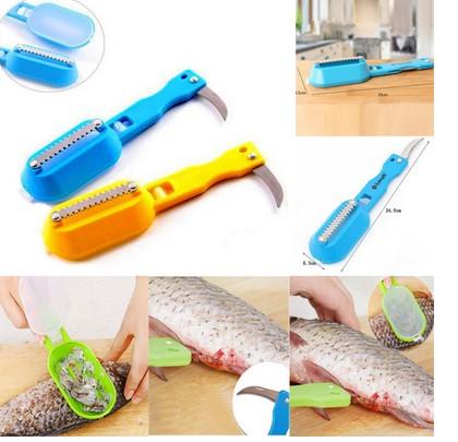 Alat Pembersih Sisik Ikan, 2 in 1, Dengan Pisau Stainless