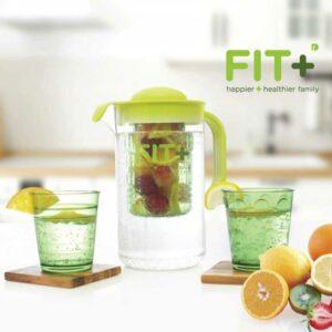 Fit+ Infuser Waterjug, Bonus 2 Gelas, Hijau, 2 Liter