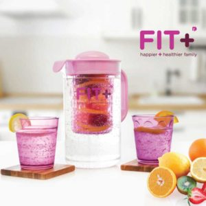 Fit+ Infuser Waterjug, Bonus 2 Gelas, Ungu, 2 Liter
