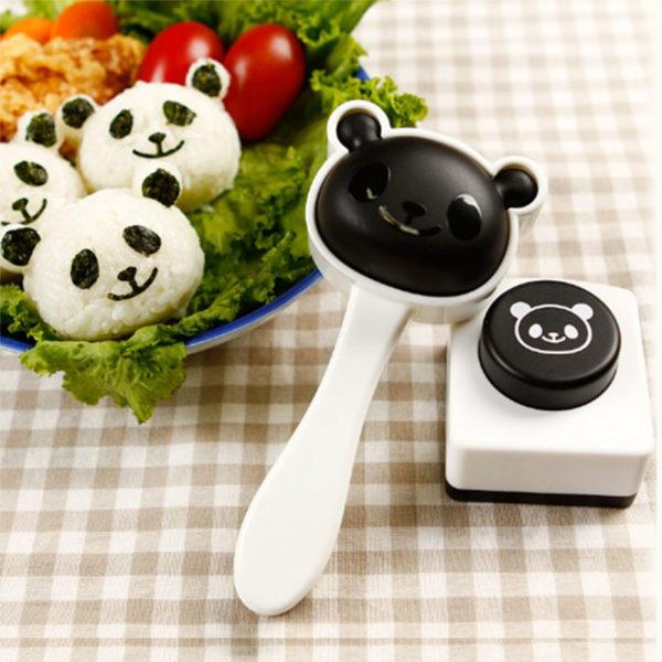 Cetakan Nasi Bento Kepala Panda dengan Nori Puncher
