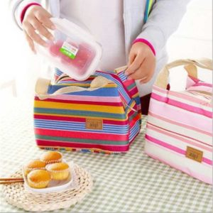 Lunch Bag - Cooler Bag, Colorful Stripes, Bonus Ice Gel