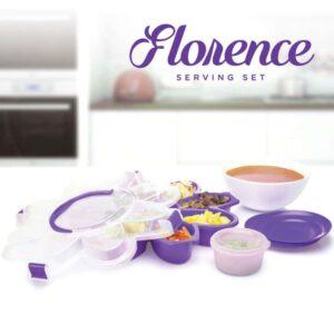 Florence Serving Set, Ungu, Bonus 3 Piring Kecil