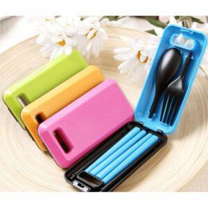 Set Alat Makan Portable, Sendok Garpu, Sumpit, Cocok Untuk Traveling