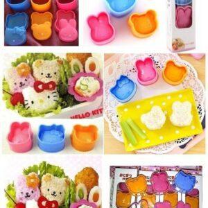 Cetakan Nasi Bento Set 3, Kitty-Bear-Bunny
