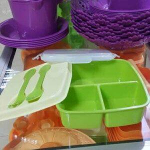 GS Lunch Box Set, Kotak Makan 3 Sekat Dengan Sendok Garpu