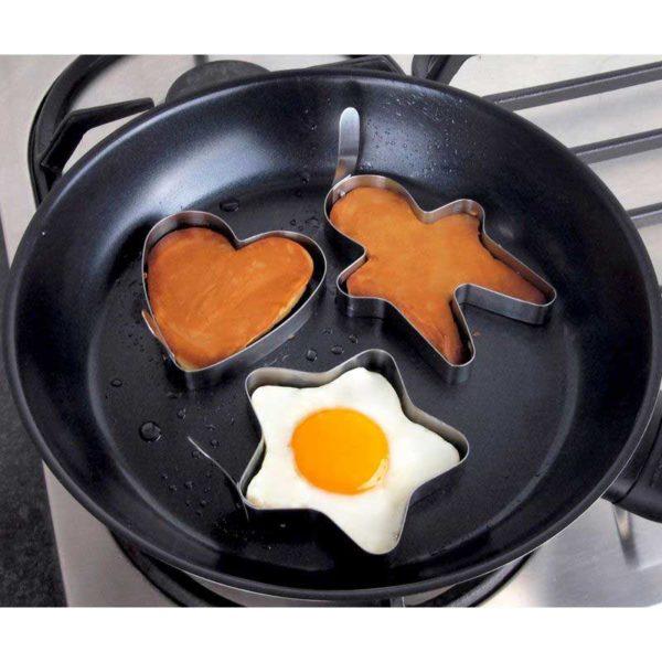 Tanica Set Cetakan Telur dan Pancake [3 Pcs] – Bentuk Boneka, Hati, Bunga