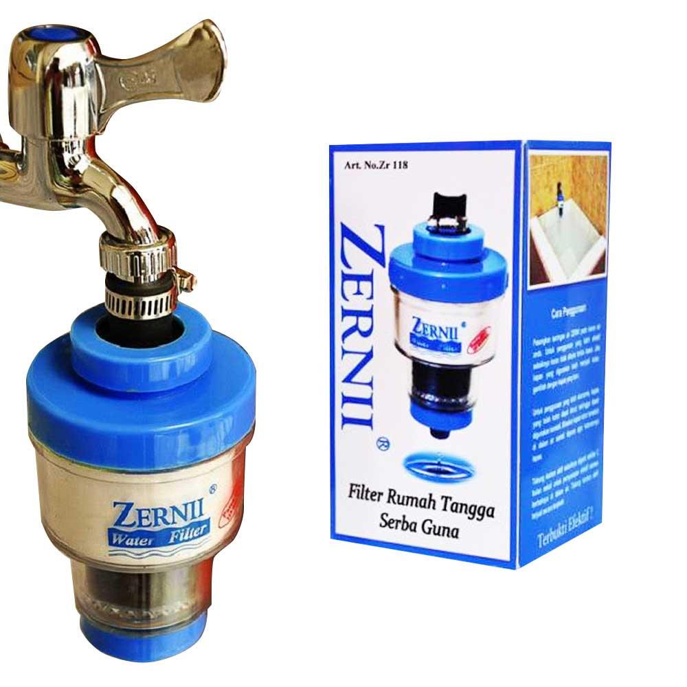 ZERNII Water Filter Paket Komplit – 1 Filter Air + 2 Refill Karbon Aktif + 1 Kapas