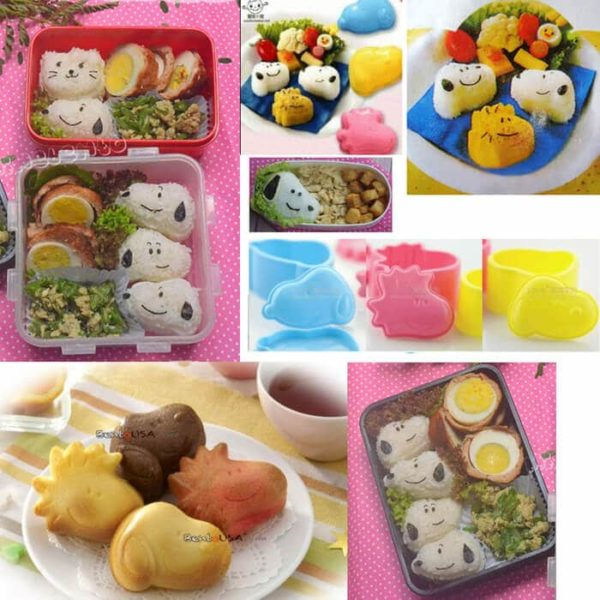 Cetakan Nasi Bento Set 3 Pcs, Snoopy and Friends
