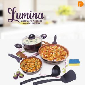 Lumina Cookware Set of 7 - Aluminium Non Stick