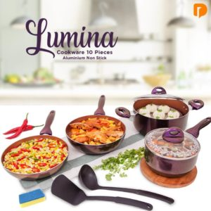Lumina Cookware Set of 10 - Aluminium Non Stick