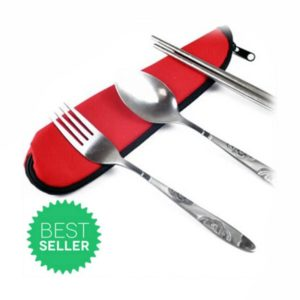 Set Alat Makan Portable 3 Pcs, Ukir, Stainless Steel